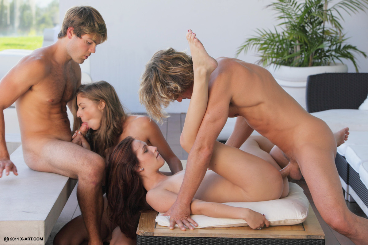 A fun foursome begins when 2 girls want some action 10