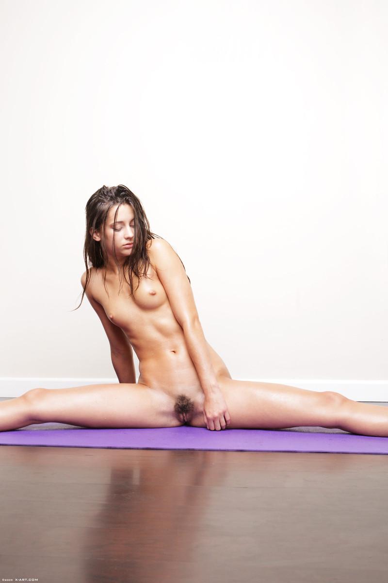 Nude female yoga